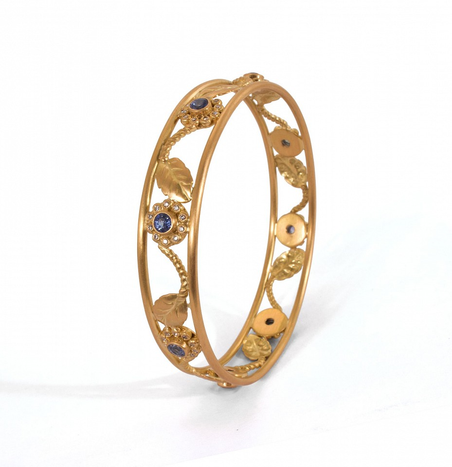 Reinstein Ross, Bangles- Sunflower Vine Bangle 20kpg with blue sapphires, 7 stones at 23.62 tcw and 80 1.1mm diamonds 2015, jewelry