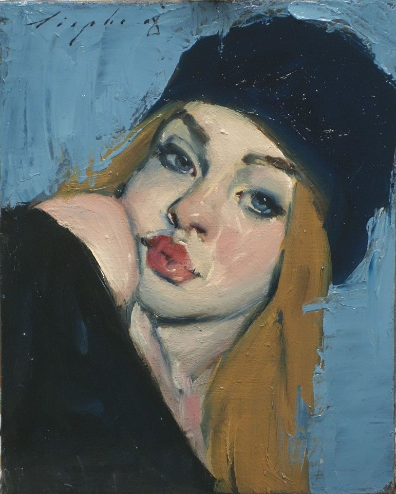 Malcolm Liepke, Blue Stocking Hat 2018, oil on canvas