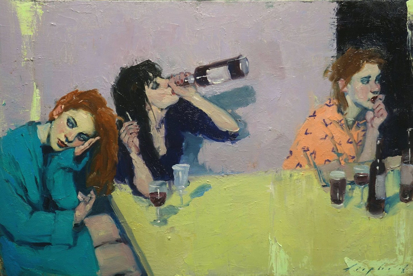 Malcolm Liepke, Girls Night 2018, oil on canvas
