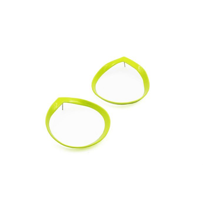 Laura Wood, Earrings - Open Weave Hoop, Chartreuse, brass, sterling silver, powder coat 2019, jewelry