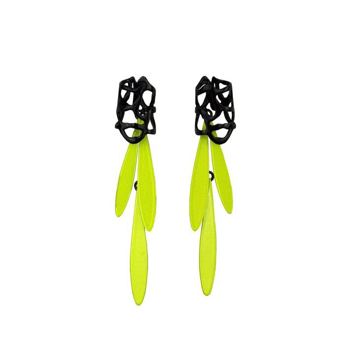 Laura Wood, Earrings - Lace Stud and Fringe, Black/Chartreuse, brass, sterling silver, steel, powder coat 2019, jewelry