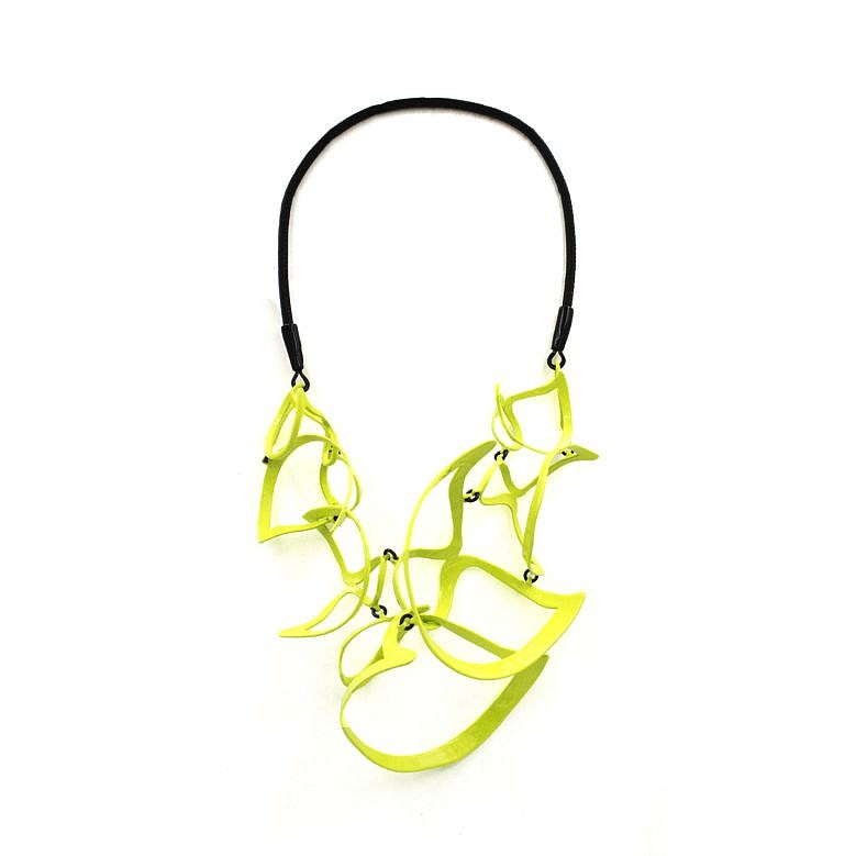 Laura Wood, Necklace - Open Wave Pointed Scoop Necklace, Chartreuse, Brass, sterling silver, leather, powder coat 2019, jewelry