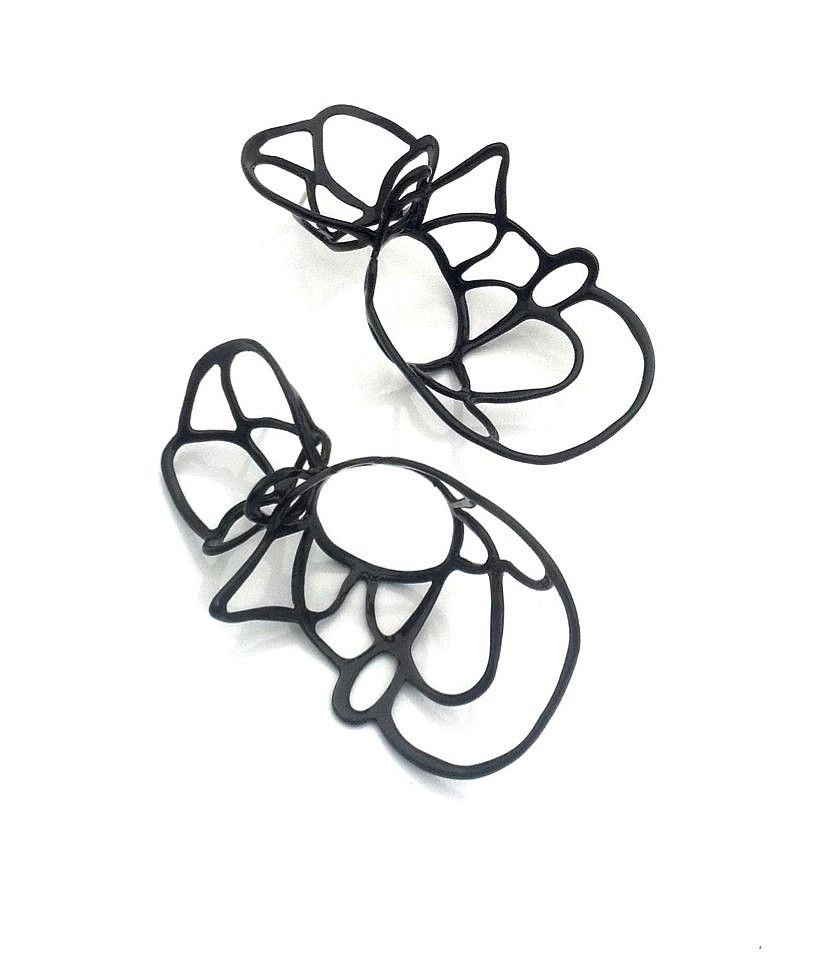 Laura Wood, Earrings - double lace studs, black, brass, stering silver, power coat 2019, jewelry